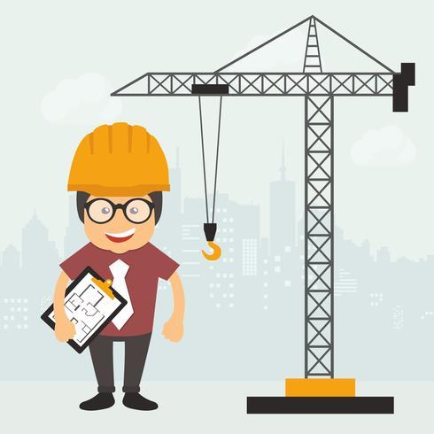 Ingenjör står med konstruktion plan dokument