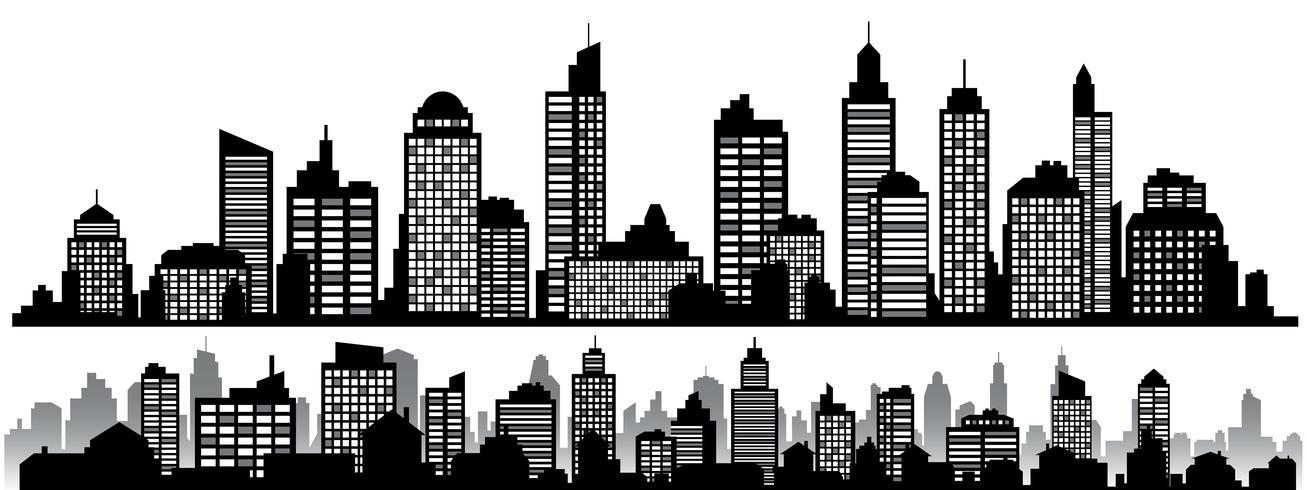 Vektor uppsättning svart horisontella natt stadsbilder
