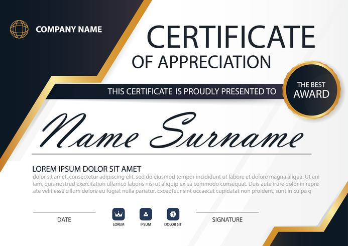 Gold Elegance horizontal certificate with Vector illustration ,white frame certificate template with clean and modern pattern presentation