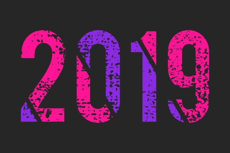 Abstract numero 2019 stile grunge, alla moda colori rosa e viola
