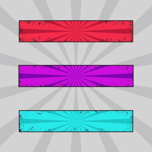 Vektorsatz grungy farbige Fahnen, Schmutztitel mit Retro- Strahlen vektor