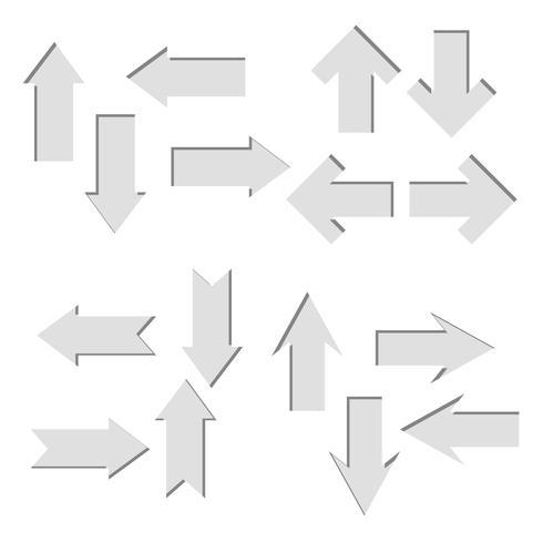 Conjunto de vetores de papel cortado em setas, forma direta
