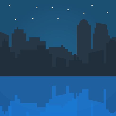 Nachtstadt-Vektorillustration im flachen Artdesign