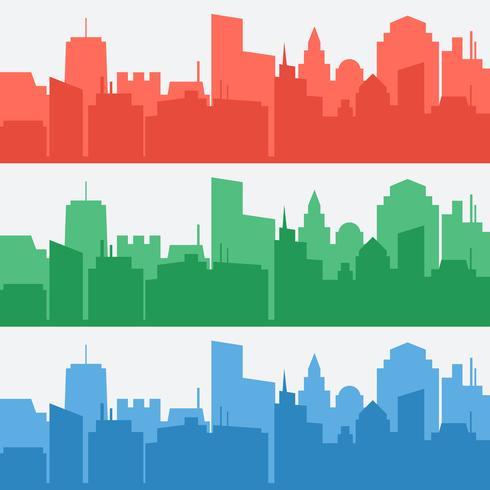 Vector conjunto de banners com silhuetas coloridas da cidade