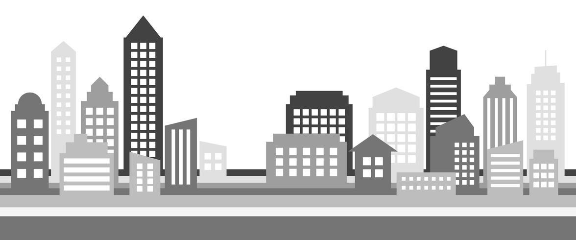 Bandera horizontal monocromática del paisaje urbano, arquitectura moderna