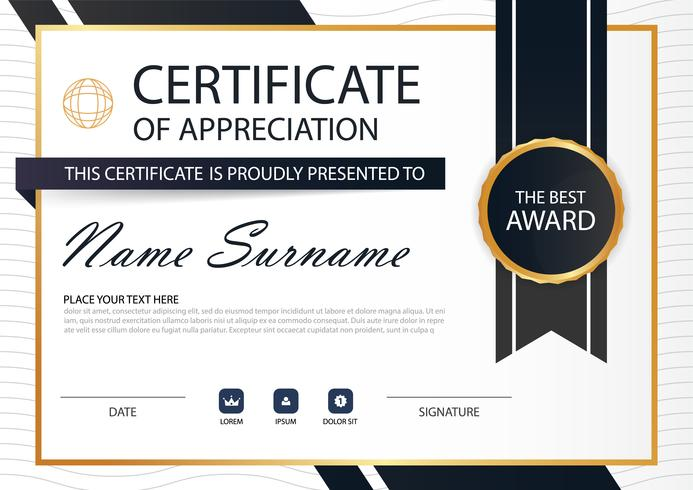 Gold black Elegance horizontal Circle certificate with Vector illustration ,white frame certificate template with clean and modern pattern presentation