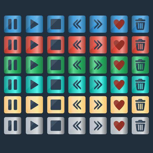 Vector conjunto de ícones de botões brilhantes para web design