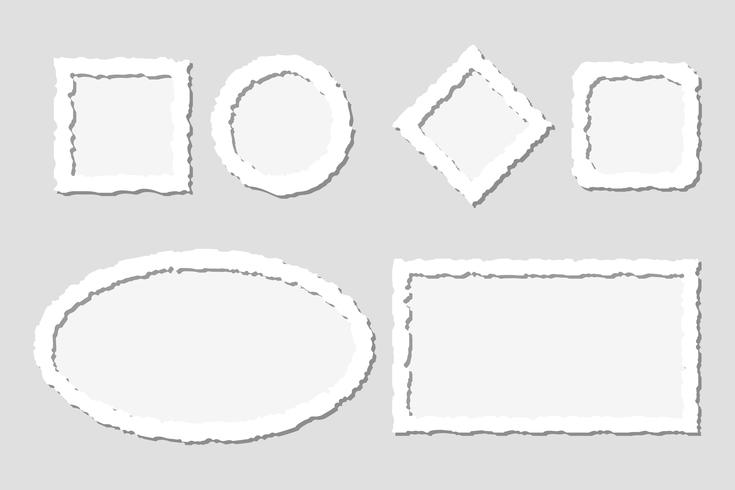 Conjunto de marcos blancos de papel rasgado con sombras, diferentes formas. vector