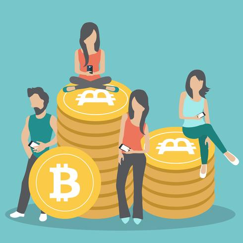 Bitcoin koncept vektor illustration av unga människor som använder laptop och smartphone för online finansiering och gör investeringar för bitcoin