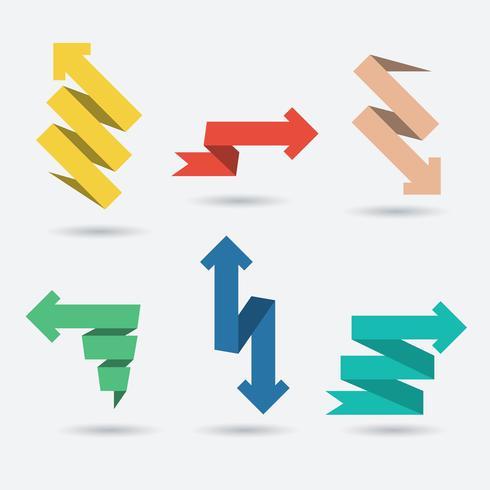Vecteur série de flèches en papier origami