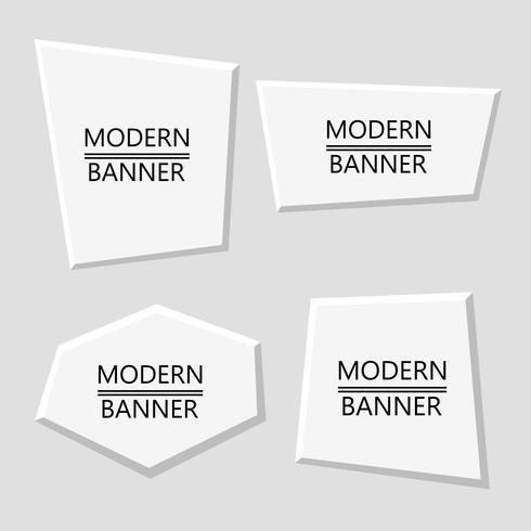 Vector set of white plastic modern banners