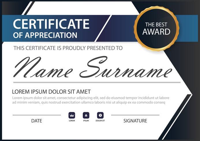Certificado horizontal azul negro elegancia con ilustración vectorial, plantilla de certificado de marco blanco con presentación de patrón limpio y moderno
