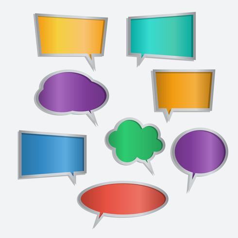 Vecteur série d'icônes de couleur discours bulle