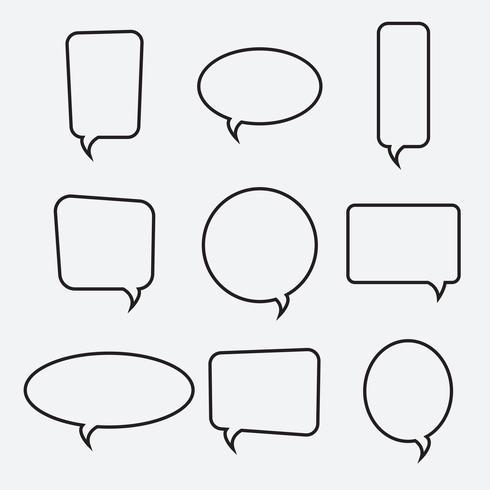 Iconos lineales de burbujas de discurso, colección de vectores