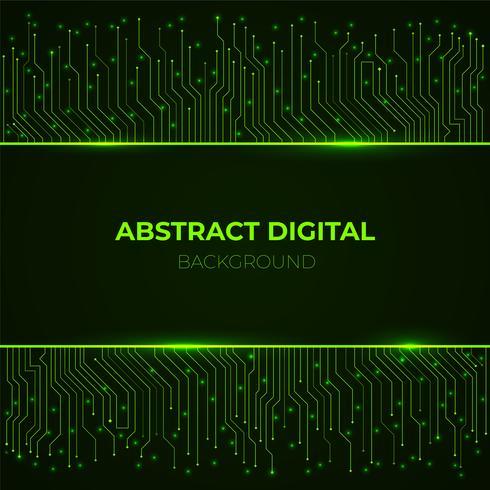 Sfondo high-tech da linee di circuito al neon incandescente verde computer