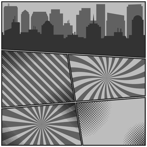 Comic book monochrome pages template with radial backgrounds and city silhouette