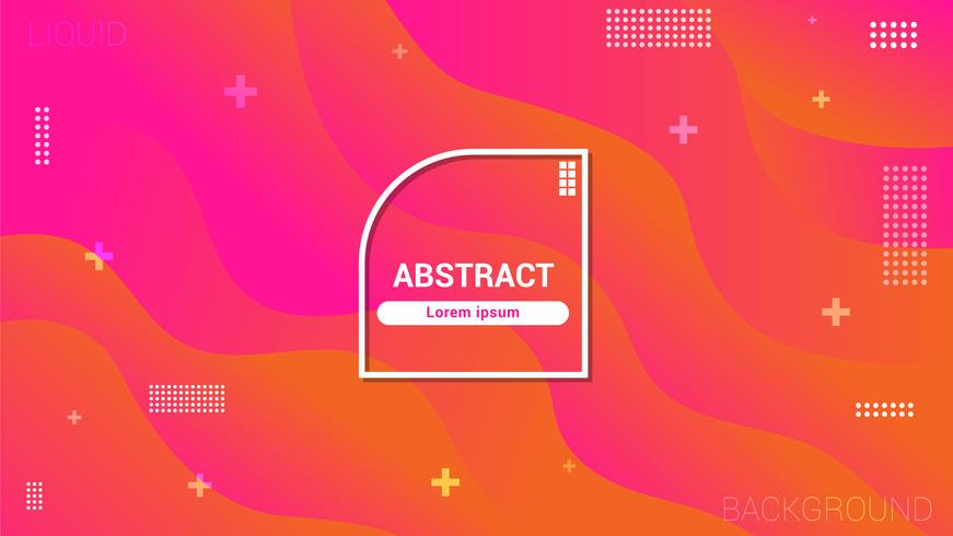 Fluid style, geometric background with trendy gradients composition and simple shapes vector