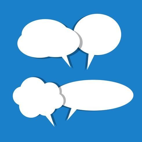 Conjunto de vetores de ícones de bolha do discurso branco papel