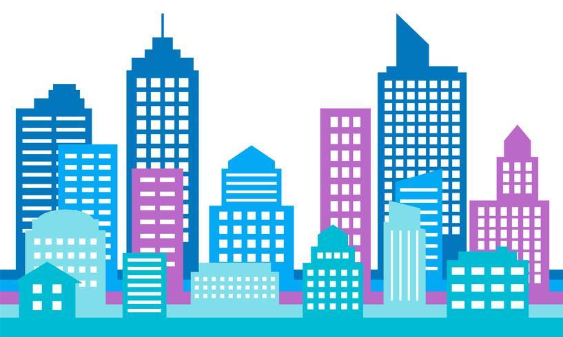 Fondo colorido del paisaje urbano, arquitectura moderna vector