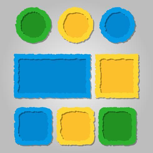 Marcos de papel de colores rasgados con sombras, diferentes formas. vector