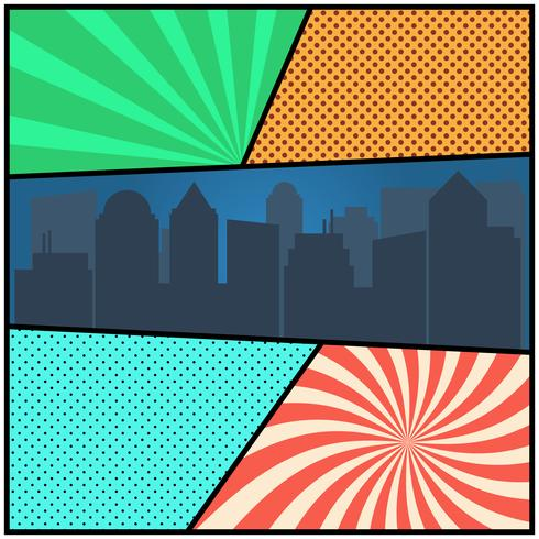Pop art comic page template with radial backgrounds and city silhouette