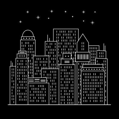 Nachtmoderne Stadt Linie Kunst
