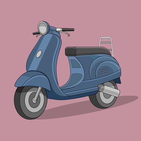 Estilo plano de dibujos animados retro scooter vector