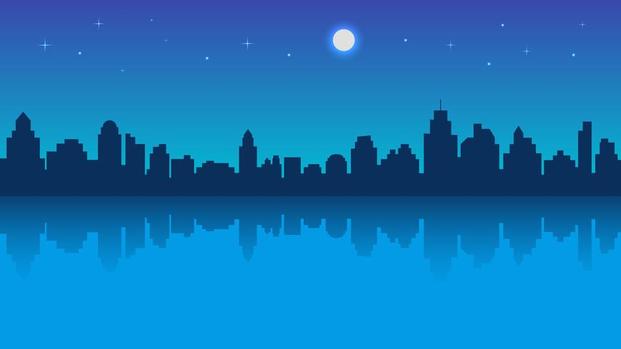 Ville de nuit avec reflet et ciel étoilé
