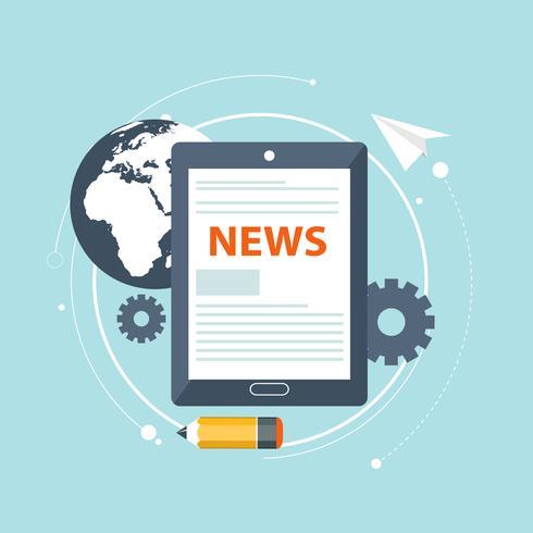 Concept d'actualité en ligne. Lire le journal sur votre tablette ou votre téléphone intelligent