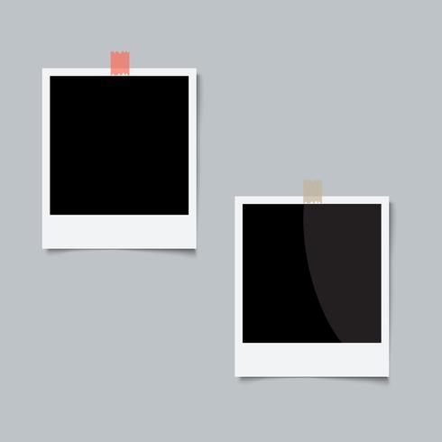 Två fotoram på grå bakgrund vektor