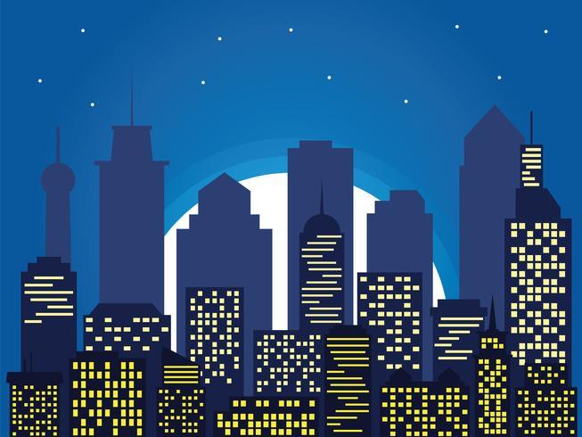 Natt silhuett av staden och fullmåne med stjärnor, tecknad stil