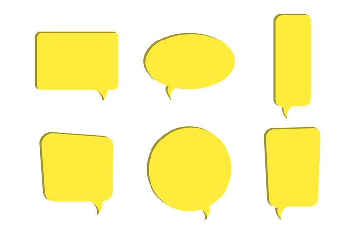 Set of yellow paper cut out speech bubble vector icons