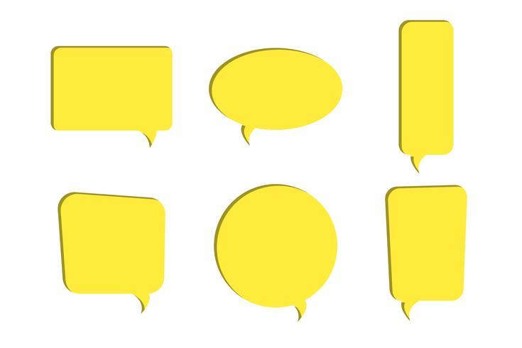 Conjunto de papel amarillo cortado iconos de vector de burbujas de discurso