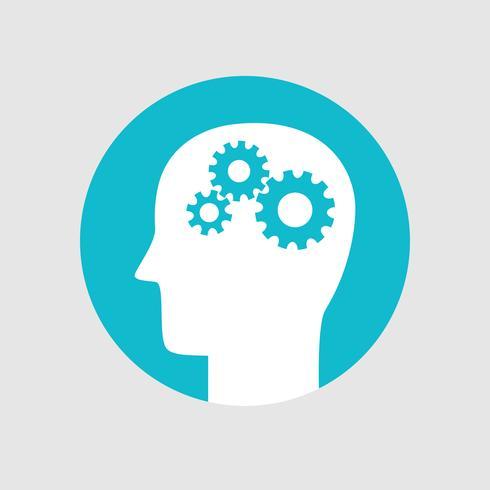 Cabeza con engranajes, icono de actividad cerebral estilo plano vector