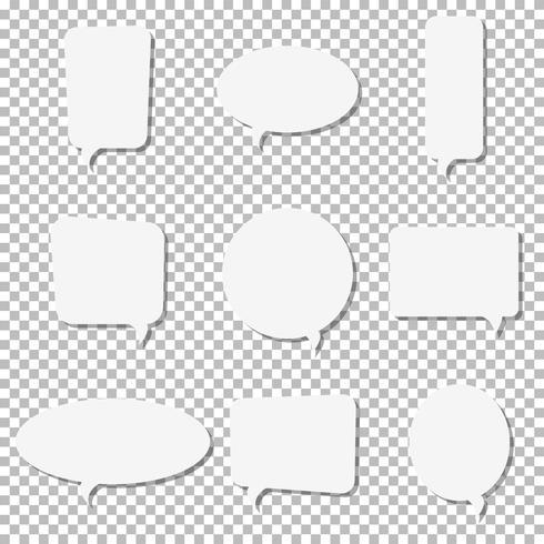 White paper speech bubble vector icons