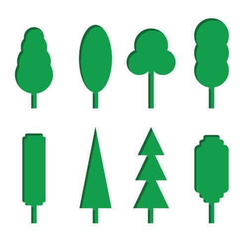 Vektorsatz Grünbuchbaumikonen vektor