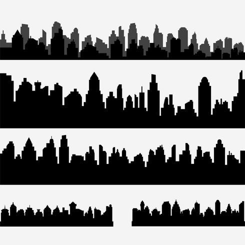 Vektor uppsättning svart olika horisontella stadsbilden