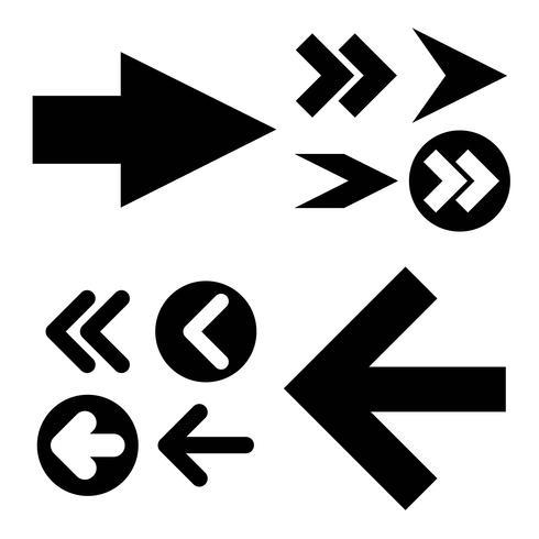 Diferentes iconos de flechas negras, conjunto de vectores