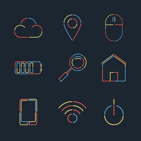 Vector set van creatieve lineaire web vlakke stijl
