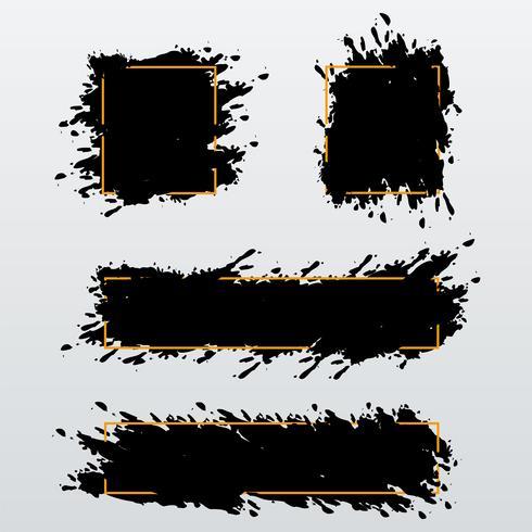 Vektorsatz modische Fahnen, Titel von Tintenbürstenanschlägen