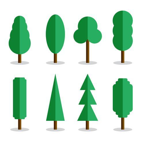 Ensemble de 8 arbres plats vectoriels avec ombres