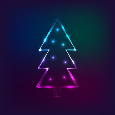 Tarjeta De Año Nuevo Con Estilo Con árbol De Navidad De Neón
