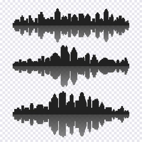 Vektor uppsättning av olika svarta horisontella stadsbild med reflektion
