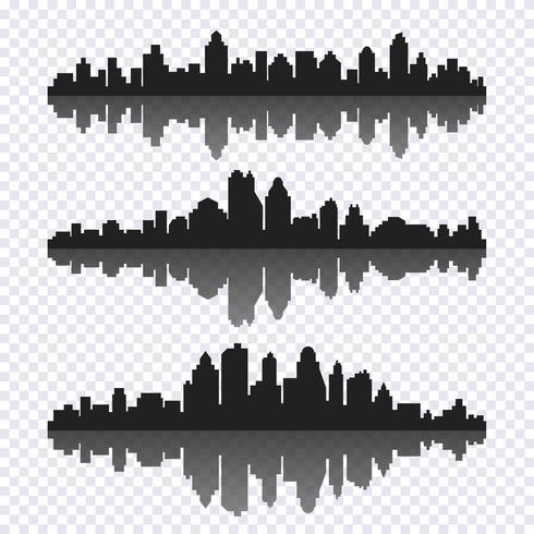 Conjunto de vectores de diferente paisaje urbano horizontal negro con reflexión