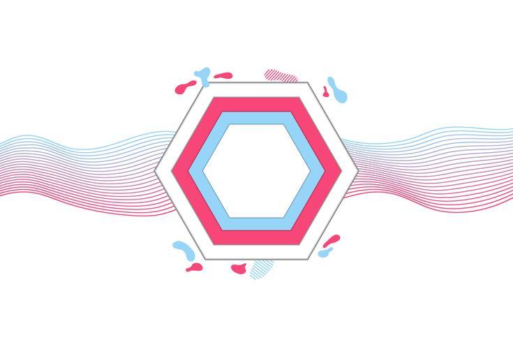 Banner geométrico moderno con formas planas, colores rosa y azul de moda.