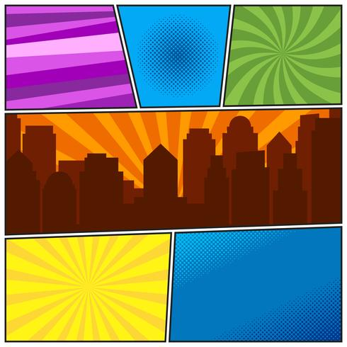 Comic book page template with different radial backgrounds and city silhouette vector