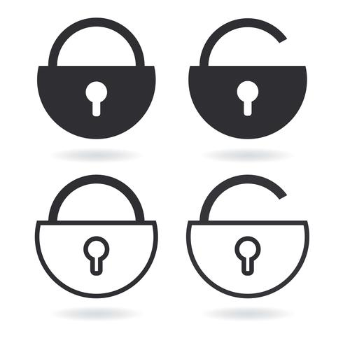 Vector Lock outline icon and black Lock icon isolated on white