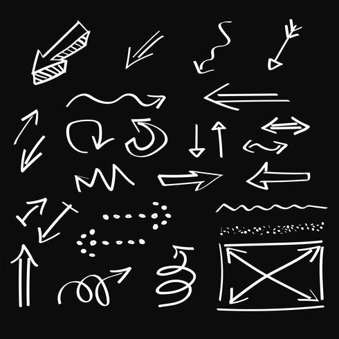 Pfeile, künstlerische Hand gezeichnet, Kreideart, Vektorsatz vektor