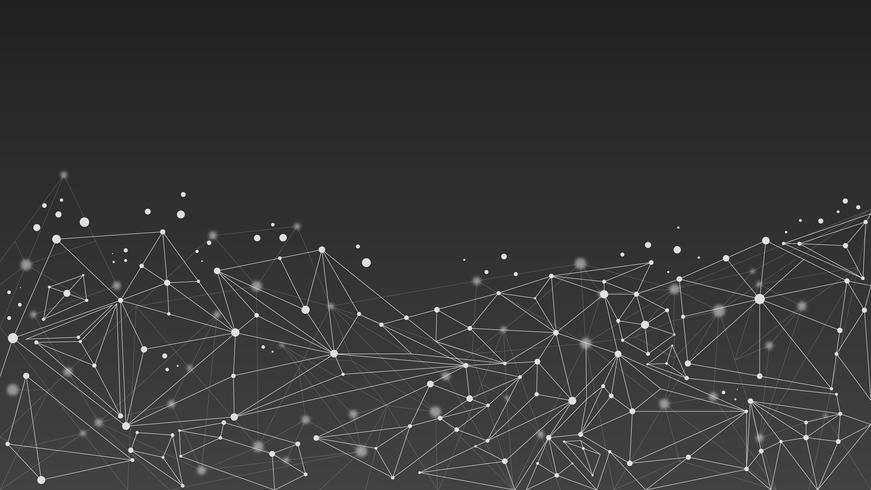 Fond de molécule abstrait géométrique, noir et blanc