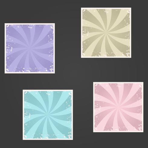 Conjunto de vetores de sunburst retro texturizado grunge backgrounds